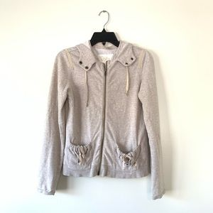 Loft Lounge Cream Sweater Jacket Hoodie Size Small